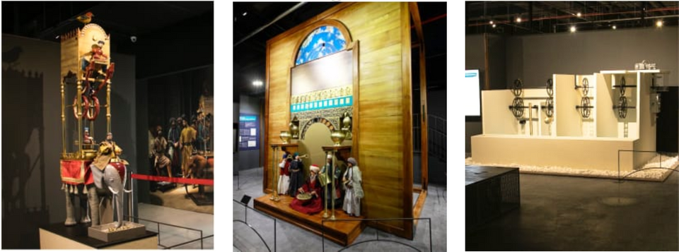 From left to right: the adventure elephant clock, the memorial water clock, the ancestor of today's modern engines, the four bucket water lifting system.