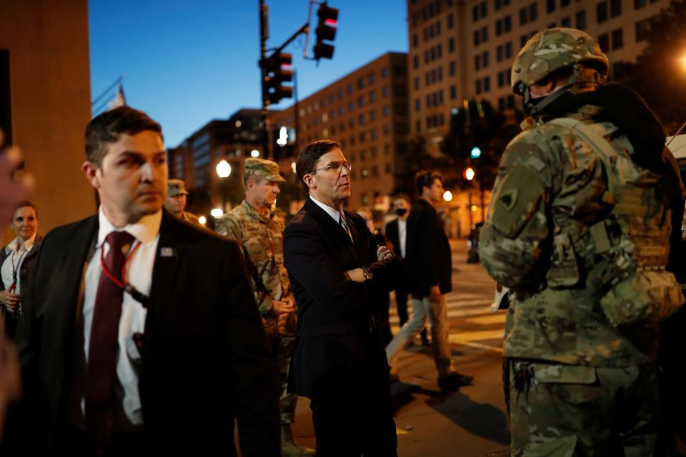 US Defense Secretary Mark Esper visits DC National Guard military officers guarding the White House amid nationwide unrest following the death in Minneapolis police custody of George Floyd, in Washington, US, June 1, 2020.