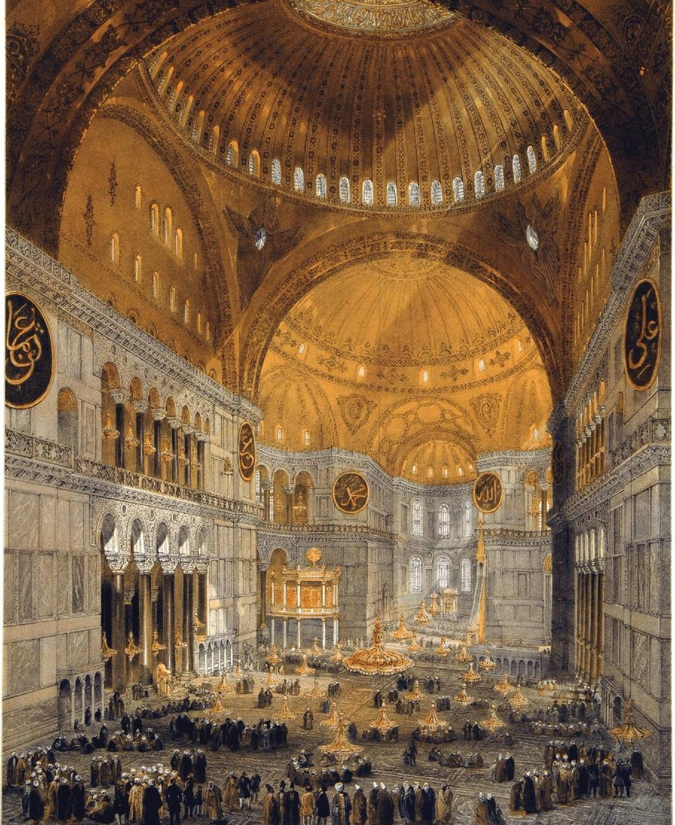 A painting of Hagia Sophia by Gaspare Fossati in 1852.