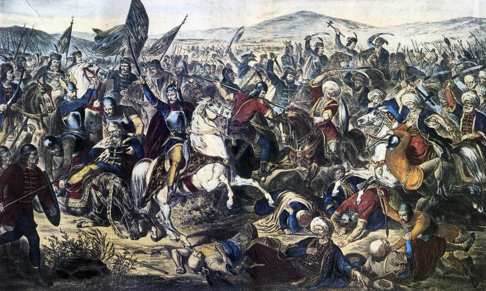 Adam Stefanović tarafından 1870 tarihli Kosova Savaşı'nın resmi. Prens Lazar'ın atıyla birlikte ölmekte olduğu görülür.