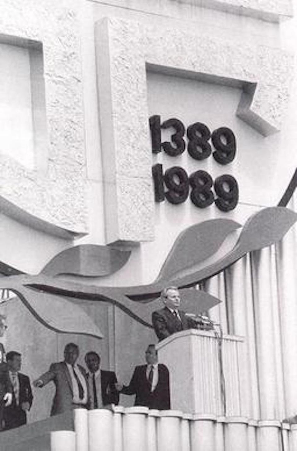 Serbian President Slobodan Milošević delivers his speech at the Gazimestan monument on the Kosovo field on June 28, 1989.