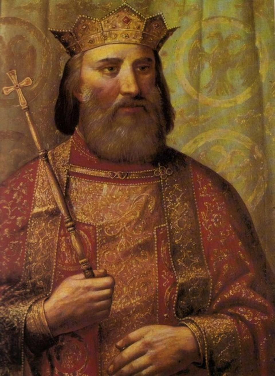 Prince Lazar Hrebeljanović, who was killed at the Battle of Kosovo on June 28, 1389. Oil painting by Vladislav Titelbah, dated to1900.