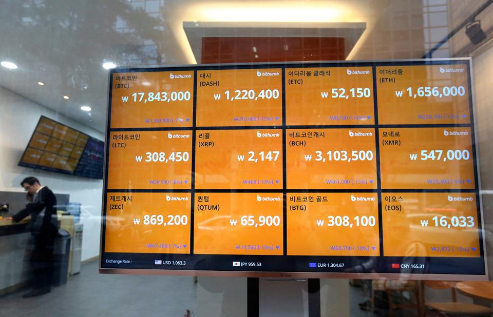 A screen shows the prices of bitcoin at a virtual currency exchange office in Seoul, South Korea, Tuesday, Jan. 16, 2018.