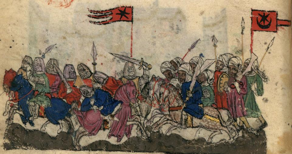 Illustration of the Battle of Yarmouk (636) at the bottom of the page of BNF Nouvelle acquisition française 886 fol. 9v (early 14th century). The Muslims are shown with a star and crescent banner, the Byzantines (anachronistically in Crusader era armour) with a star banner.