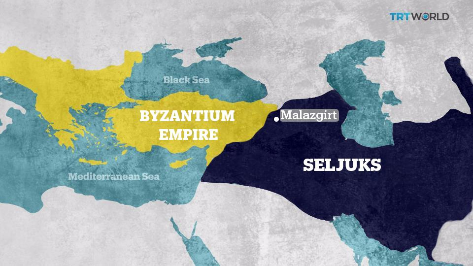 The borders of the Seljuks and the Byzantium Empire at the end of Sultan Alp Arslan's reign. Alp Aslan was assassinated in 1072 a year after the battle of Malazgirt.