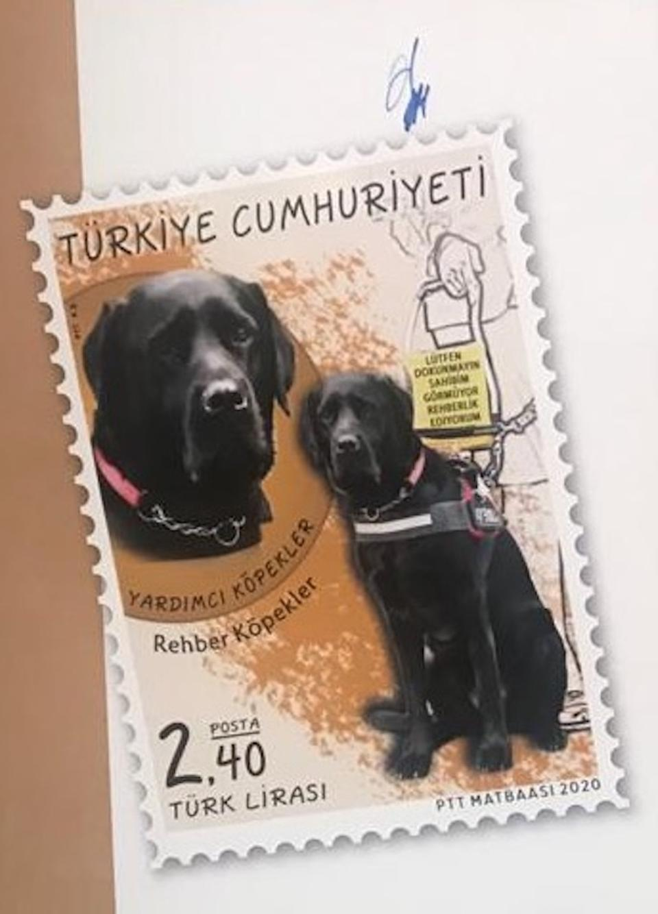 Guide dog Kara, a black labrador, is immortalised with a stamp.