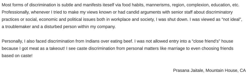 One of many anecdotes shared by those from lower caste backgrounds. Such testimonies offer a  snapshot of the lives of Indian immigrants in the US and how caste discrimination manifests..