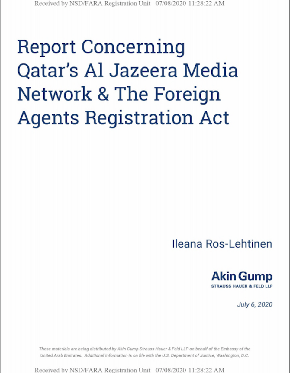 Screenshot from report lobbying to get Al Jazeera Media Network registered as a foreign agent written by former Congresswoman Ileana Ros-Lehtinen on behalf of Akin Gump, a firm lobbying for the UAE.