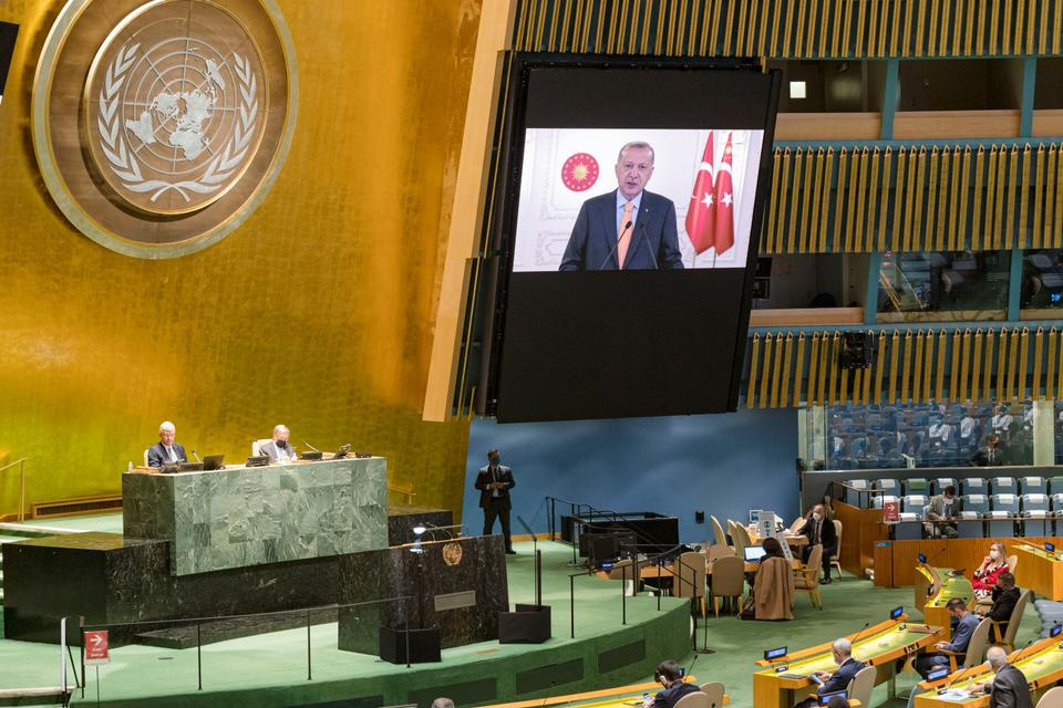 President of Turkey, Recep Tayyip Erdogan, speaks during the 75th annual UN General Assembly, which is being held mostly virtually due to the coronavirus pandemic in the New York City, New York, US, September 22, 2020.