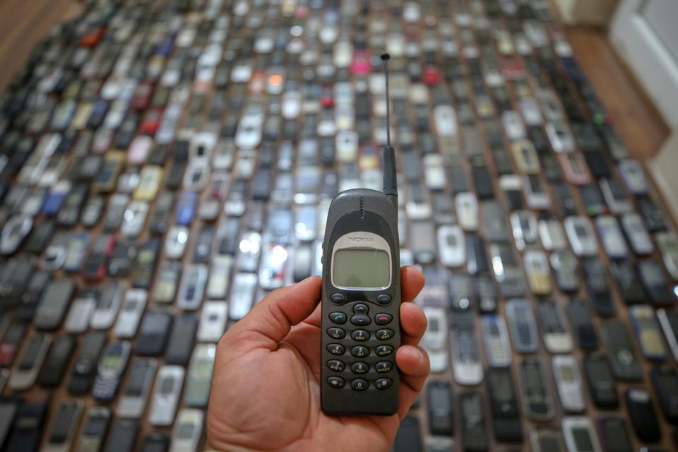 An old Nokia cell phone in Sahabettin Ozcelik's collection.