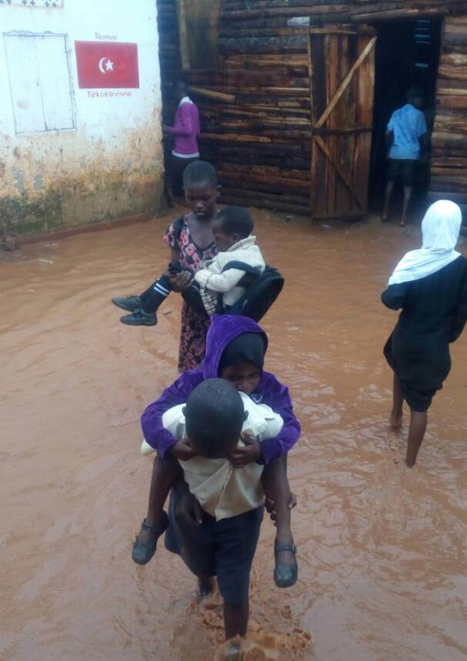 The picture shows orphans live in bad condition in Uganda, before Turkish Africa Friendship Association reconstruction project.