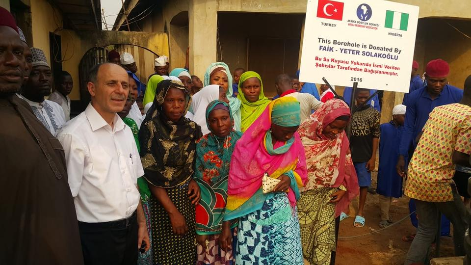 Founder and head of Africa Friendship Association Semsettin Turkan has been working on several charity projects in different parts of Africa. This photo was taken during the opening ceremony of a water well in Nigeria in 2016.