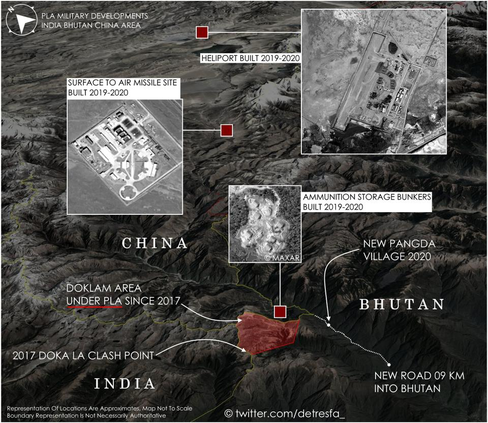 Chinese military build-up in the contested Doklam region in recent years.