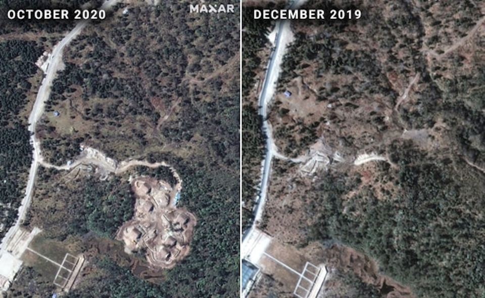 Construction of the Chinese ammunition dump in contested territory only began in December 2019. (2020 Maxar Technologies)