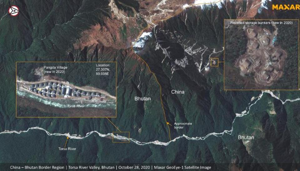 A wide view of the newly constructed Chinese 'Pangda' village, built in the disputed Doklam area, provided by satellite operators Maxar Technologies.