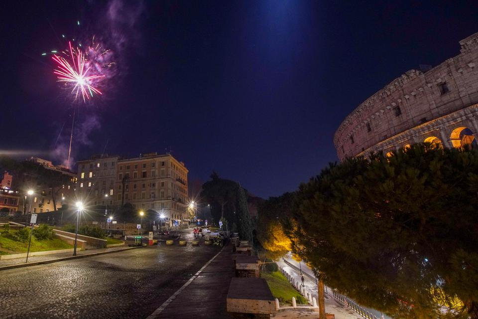 A view of an empty Colle Oppio hill overlooking the Colosseum, usually a popular spot for New Year's Eve celebrations, in Rome, January 1, 2021.