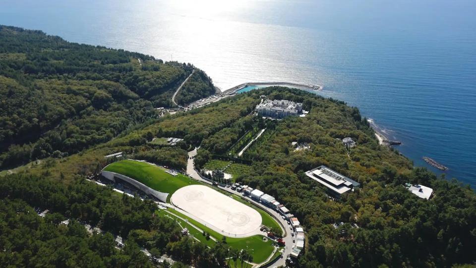 An aerial view of Putin's Black Sea Palace .