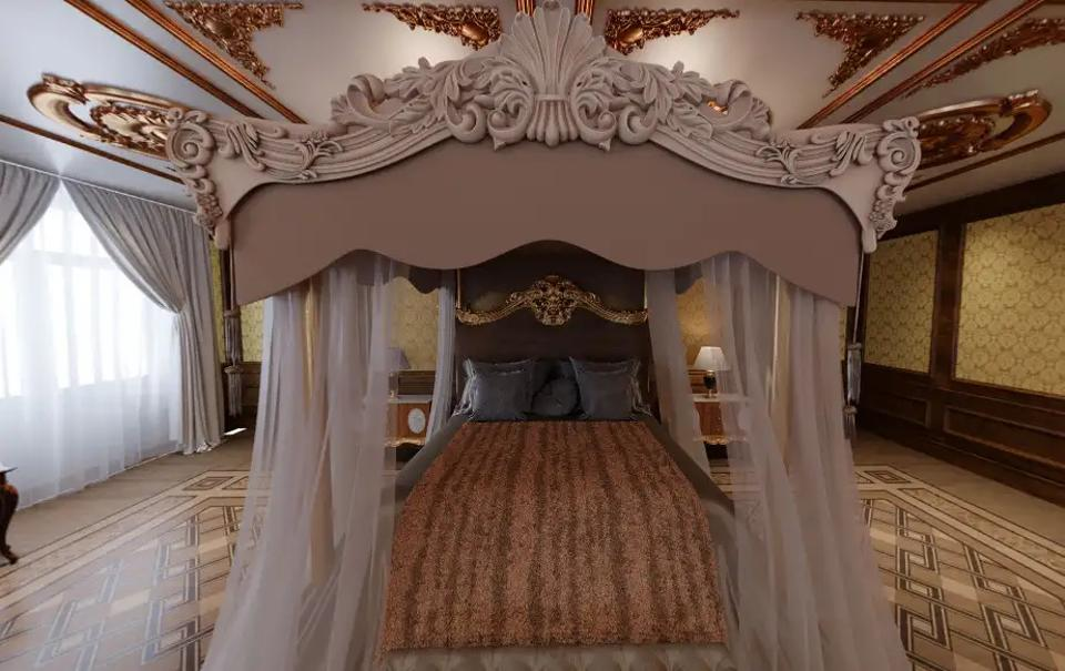 A rendering showing what one of the palace's bedrooms might look like.