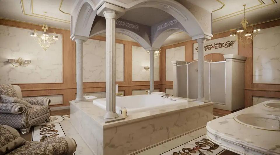 A depiction of one of the bathrooms based on the floor plans.