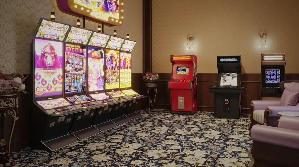 A rendering of slot machines and video game cabinets in another room.