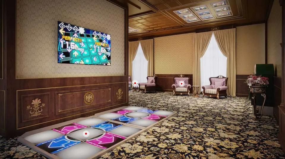 A rendering showing the popular arcade game Dance Dance Revolution in one of the palace's halls.