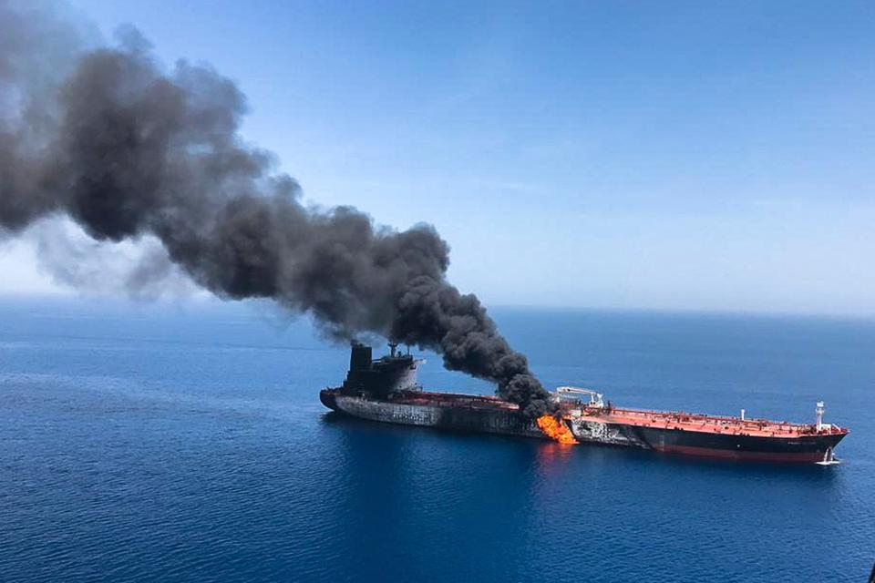 One of the two tankers that were attacked near the Strait of Hormuz while they transited the Gulf of Oman, on June 13, 2019.